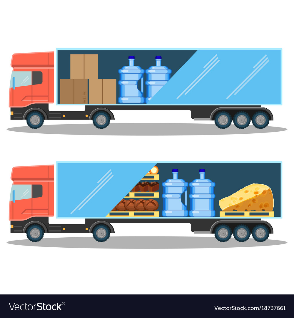 Large delivery truck with water bottles cardboard