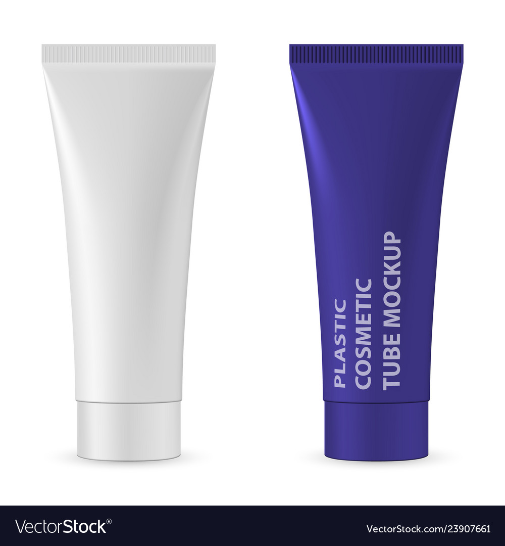 Plastic white realistic tube for cosmetics