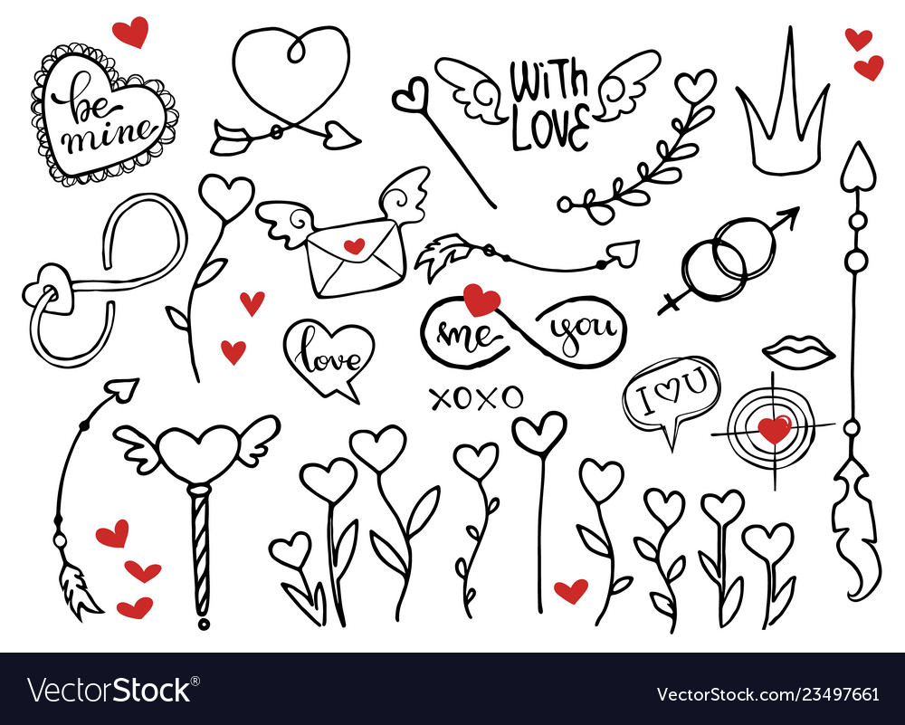 Rough doodle elements for valentines day