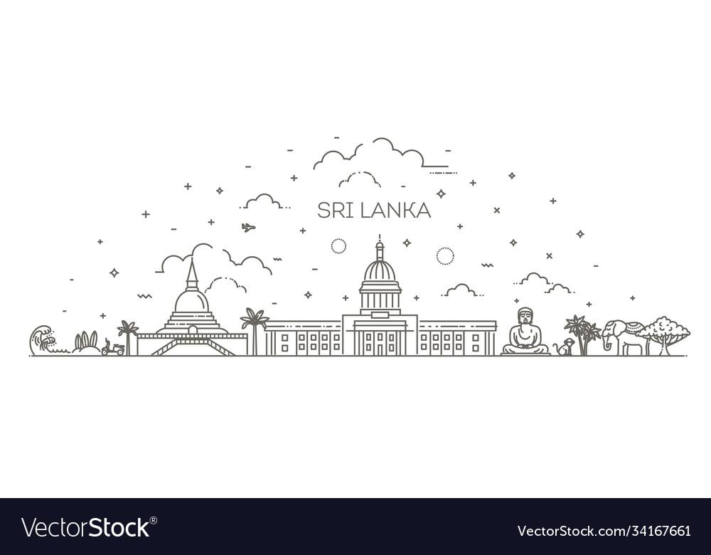 Sri lanka line skyline with panorama