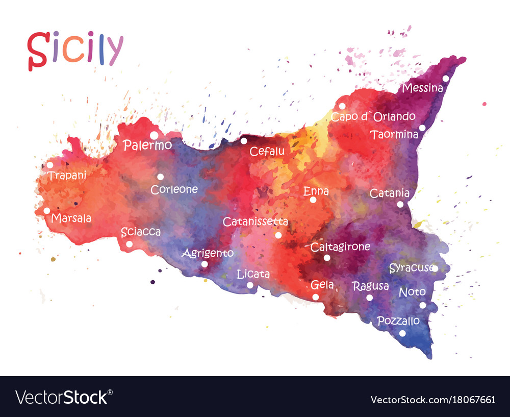Stylized map of the italian island of sicily