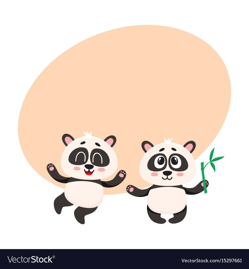 Two cute happy baby panda characters with paws