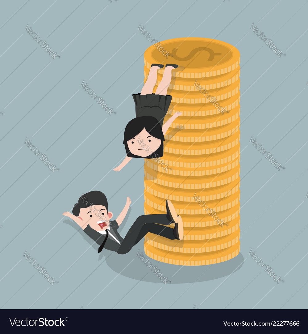 Businesswoman helps friend to climb a coin