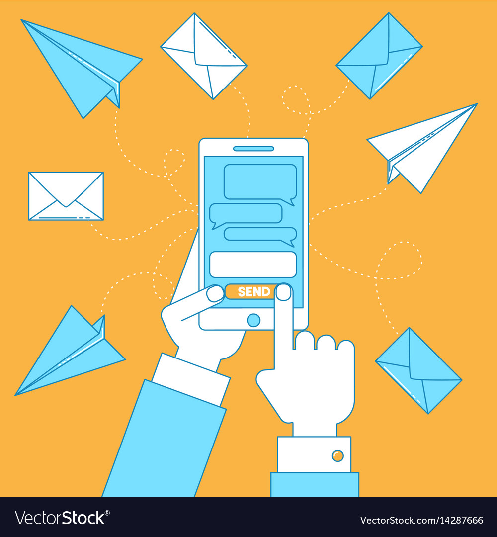 Cell phone with messages vector image