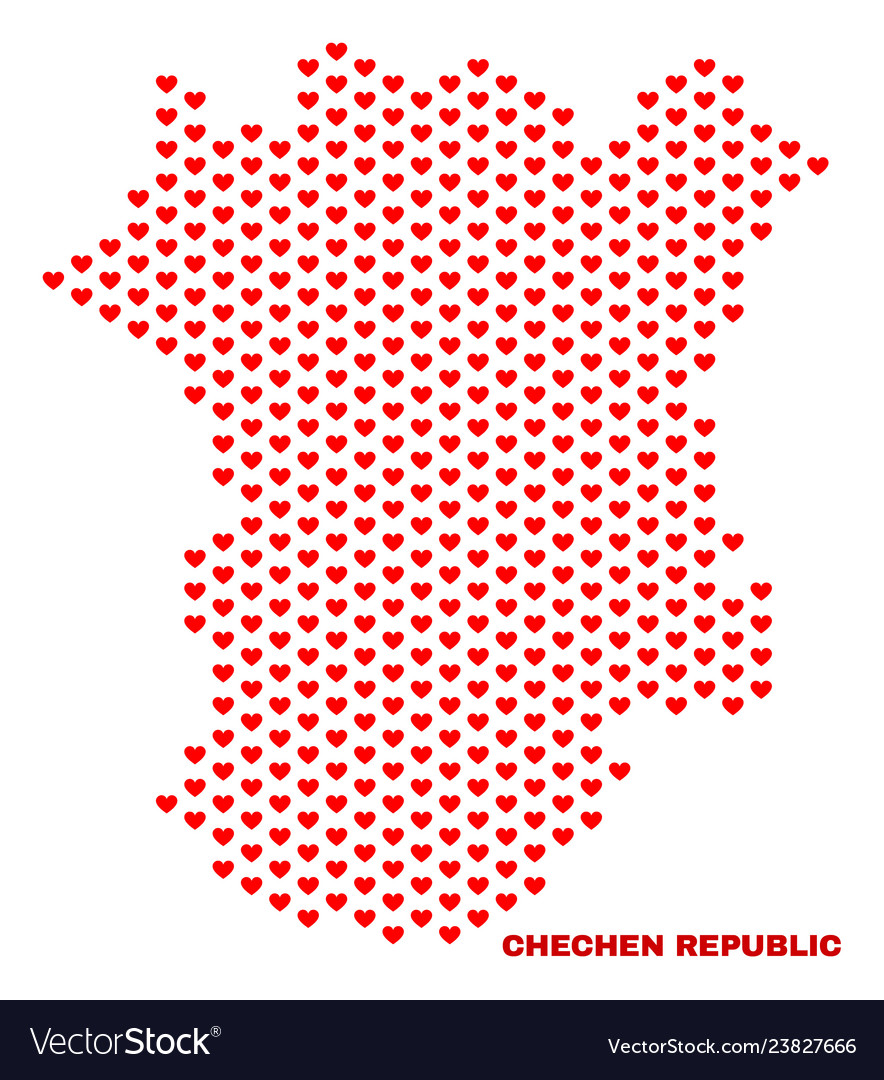 Chechen republic map - mosaic of lovely hearts