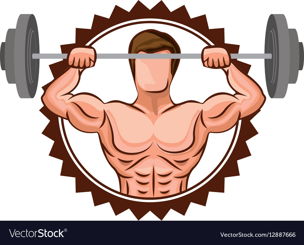 Colorful stamp border with muscle man lifting a