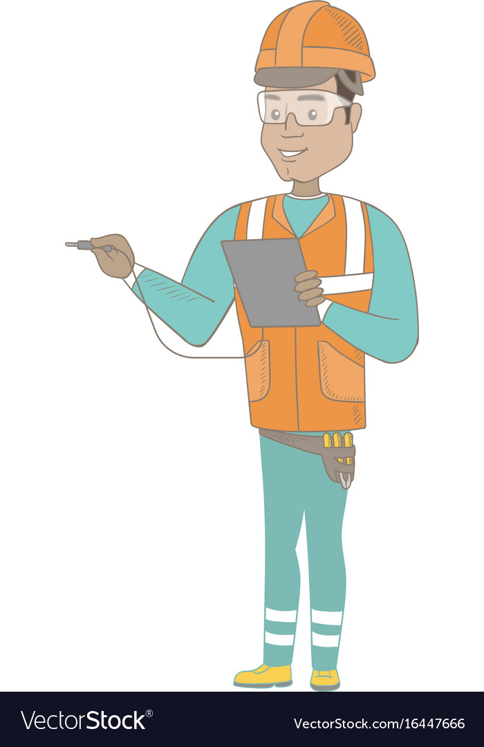 Hispanic electrician with electrical equipment
