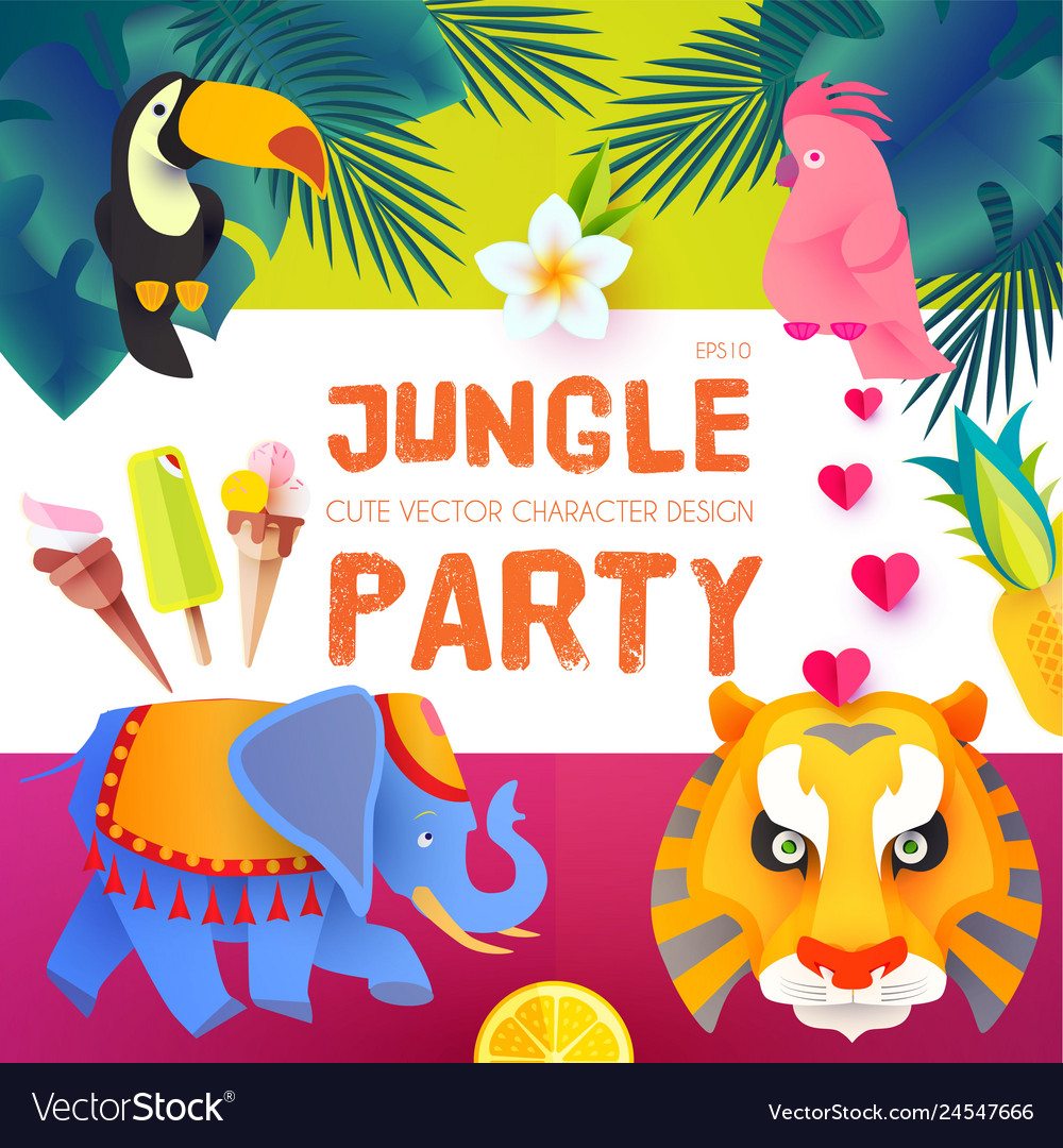 Jungle party cute exotic animals design children