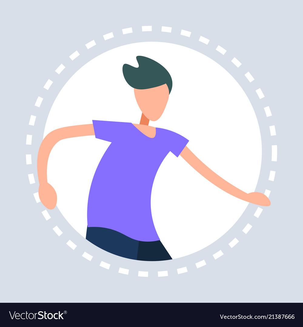 Man dancing pose round frame gray background