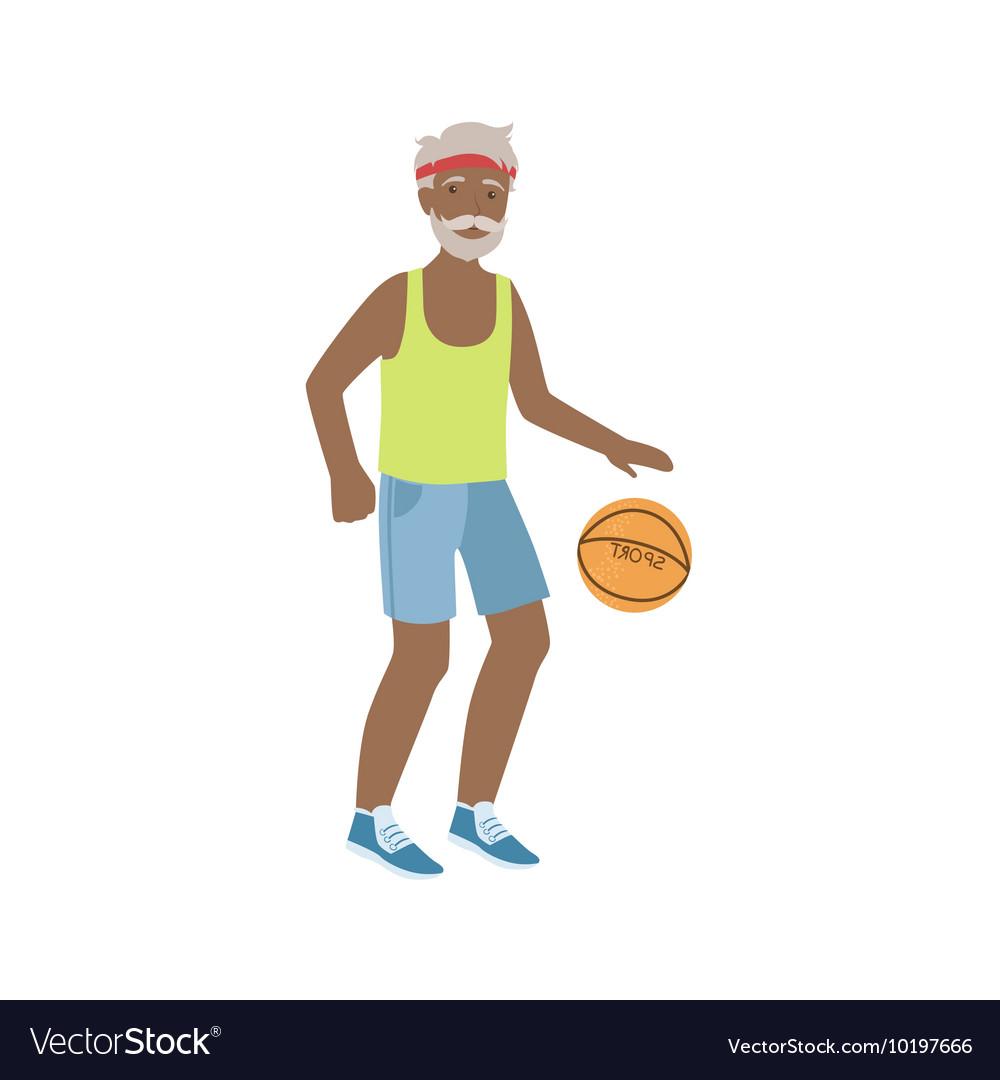 Old Man Playing Basketball vector image