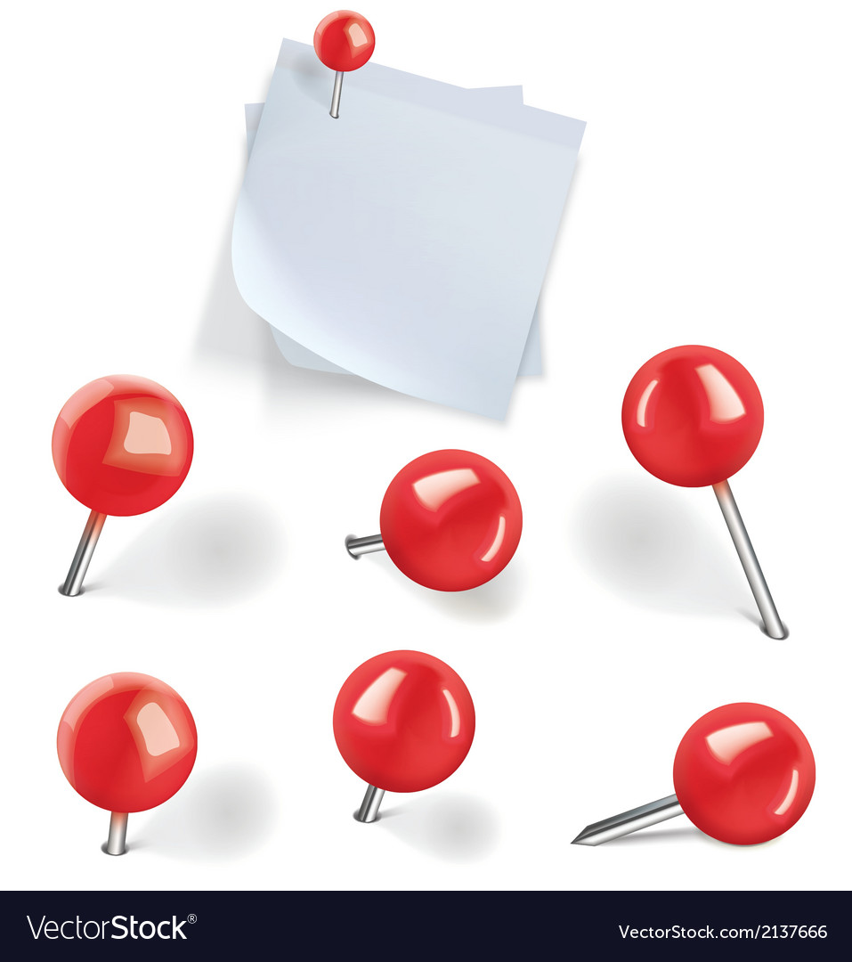 Set of red pushpins vector image