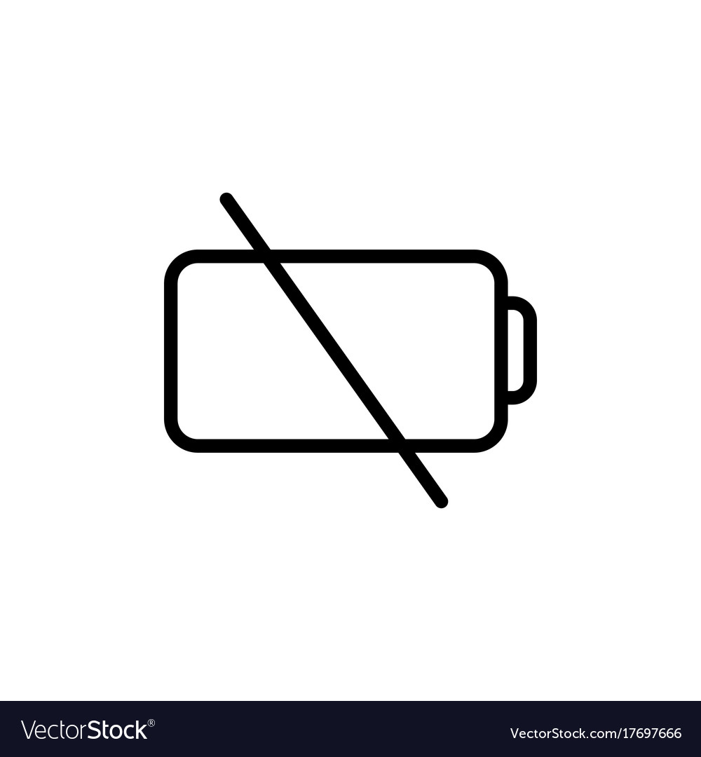 thin line low battery icon royalty free vector image vectorstock