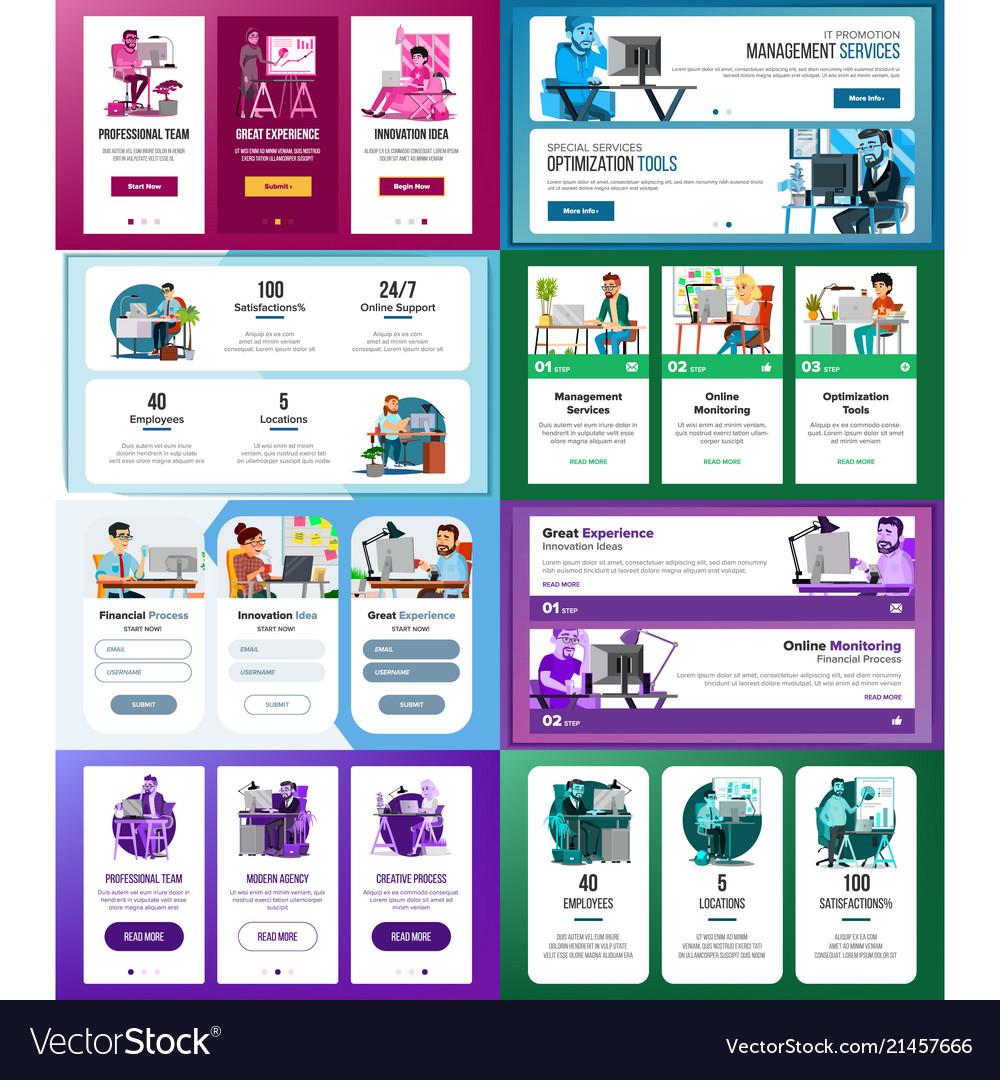 Website banners set business technology