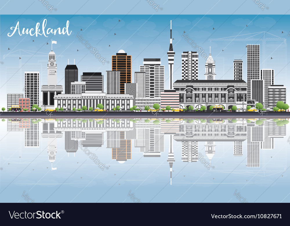 Auckland Skyline with Gray Buildings vector image