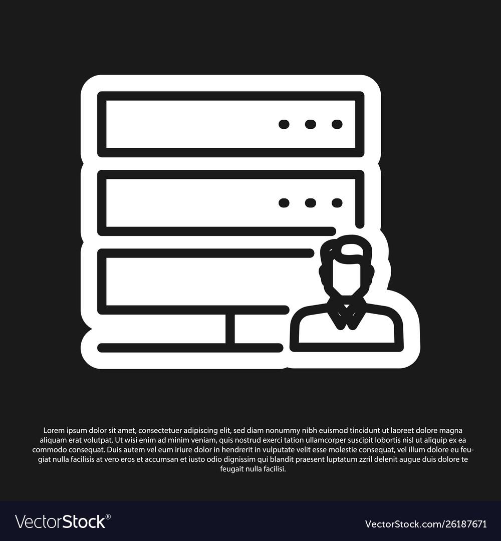 Black customer care server icon isolated on black