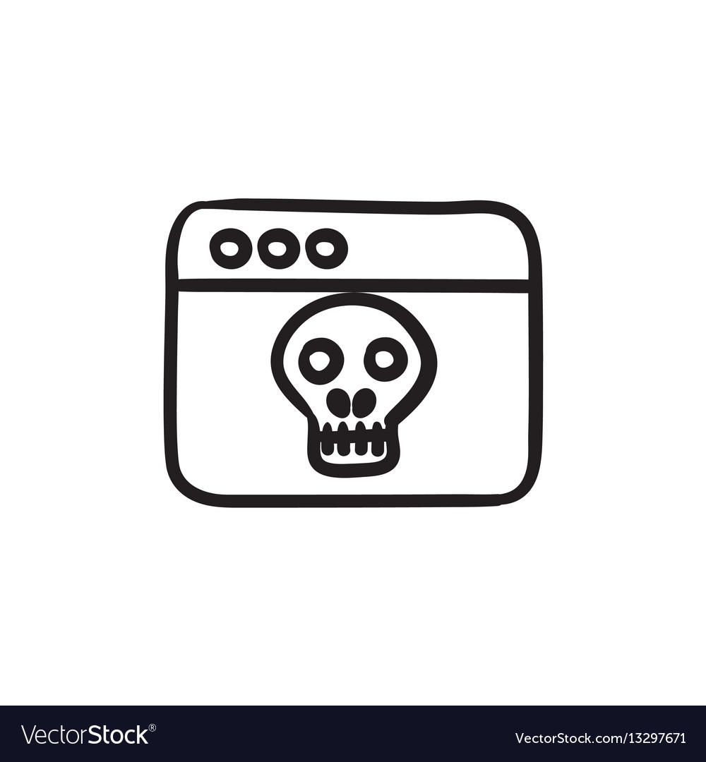 Browser window with skull sketch icon