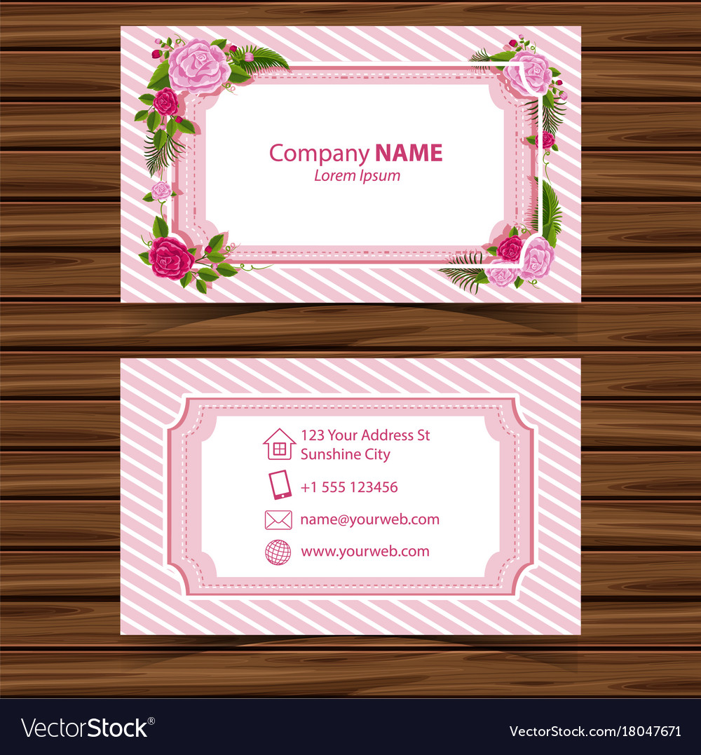 Businesscard template with roses border royalty free vector businesscard template with roses border vector image reheart Image collections
