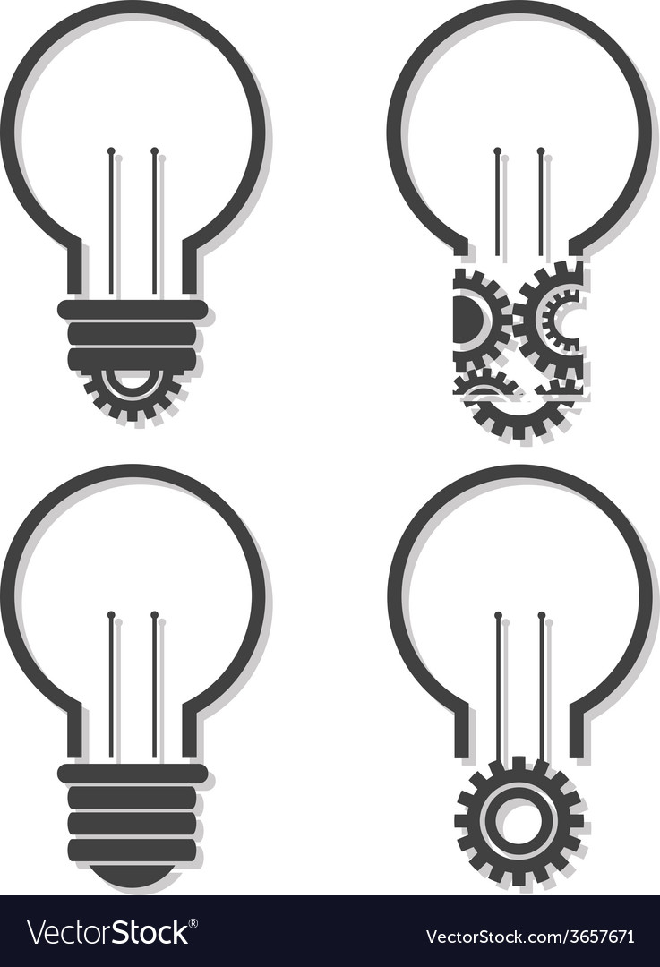 Light bulb with lightning in form of gear and idea