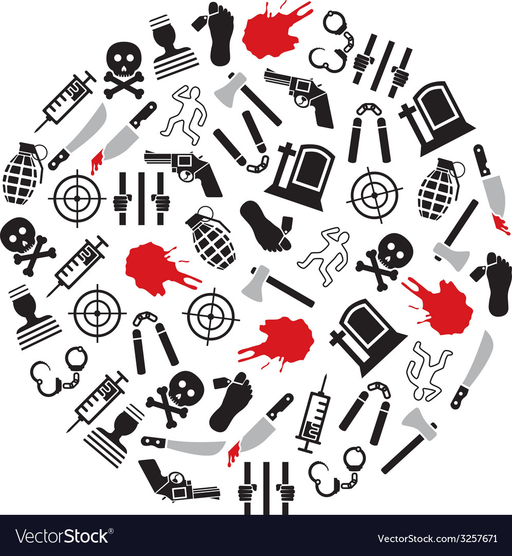 Murder icons in circle vector image