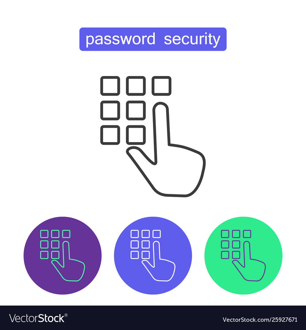 Password security outline icons set