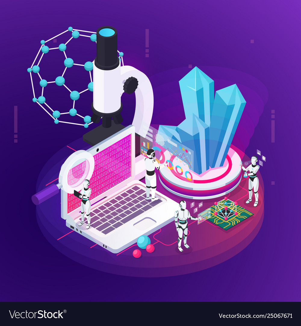 Robot science isometric composition