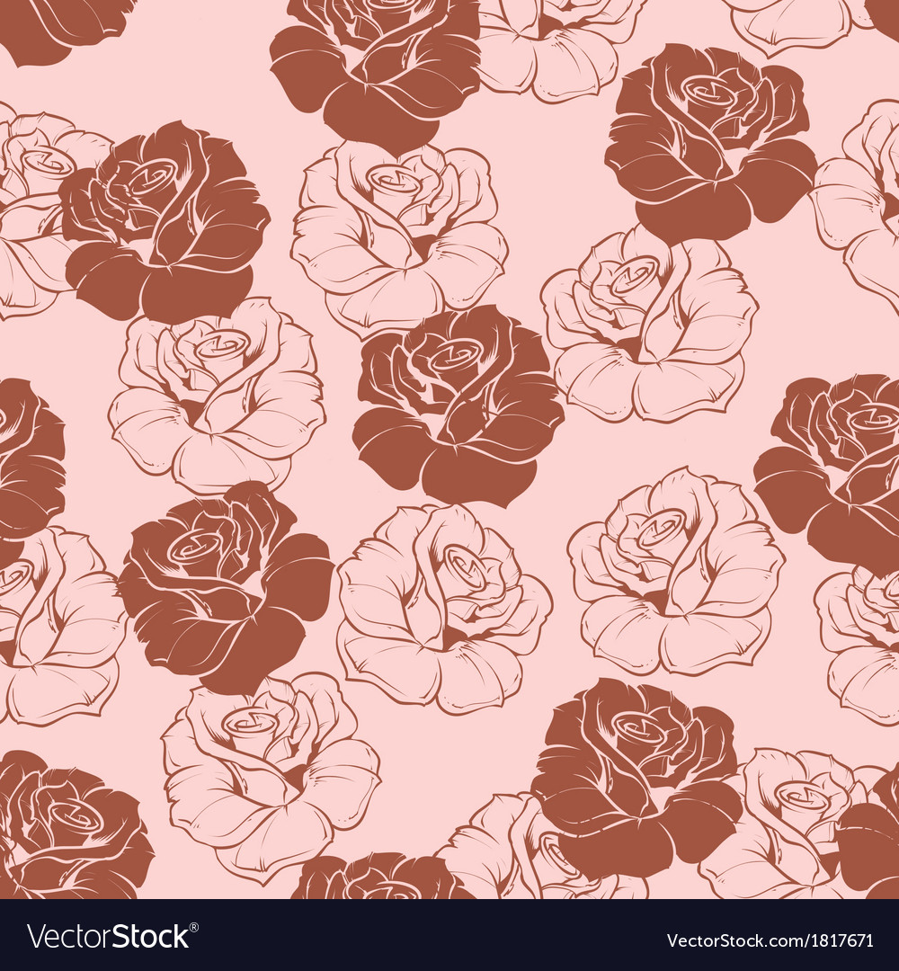 Seamless floral pink and brown roses pattern
