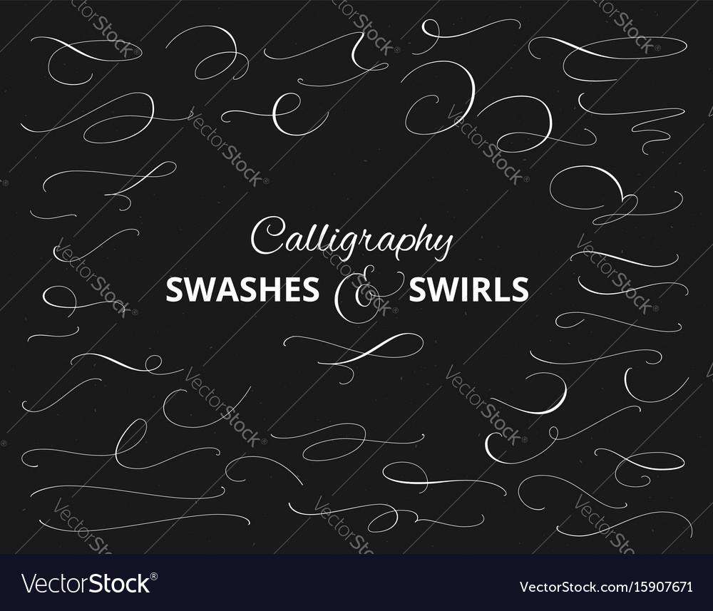 Set of custom decorative swashes and swirls white vector image