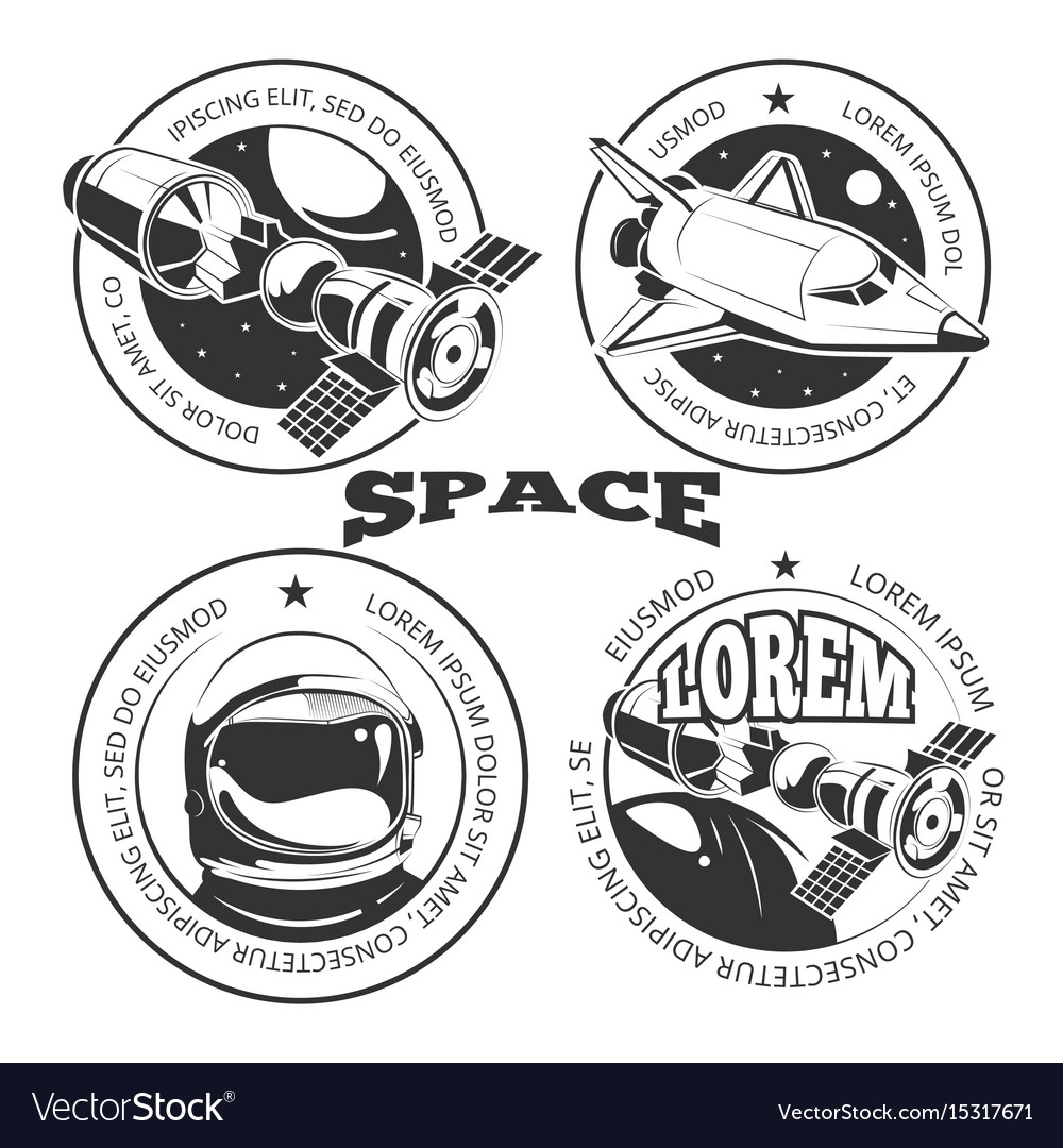 Space labels set - labels or logo with shuttle