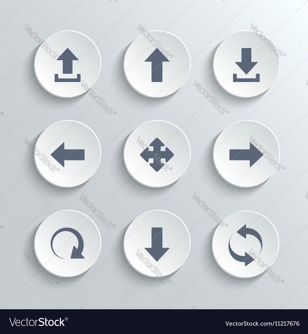 Arrows icon set - white round buttons