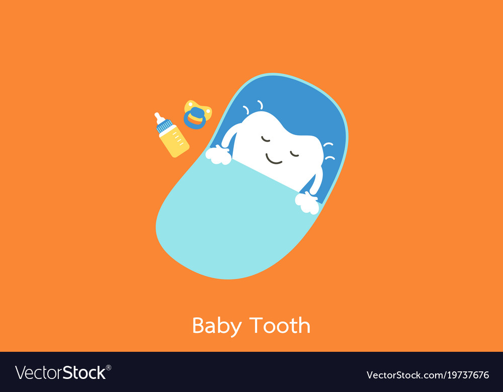 Baby tooth sleep on blue bed - first teeth concept