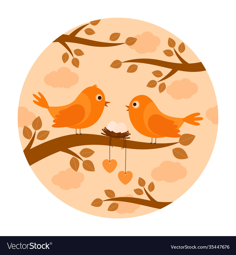 Birds with nest eggs on branch
