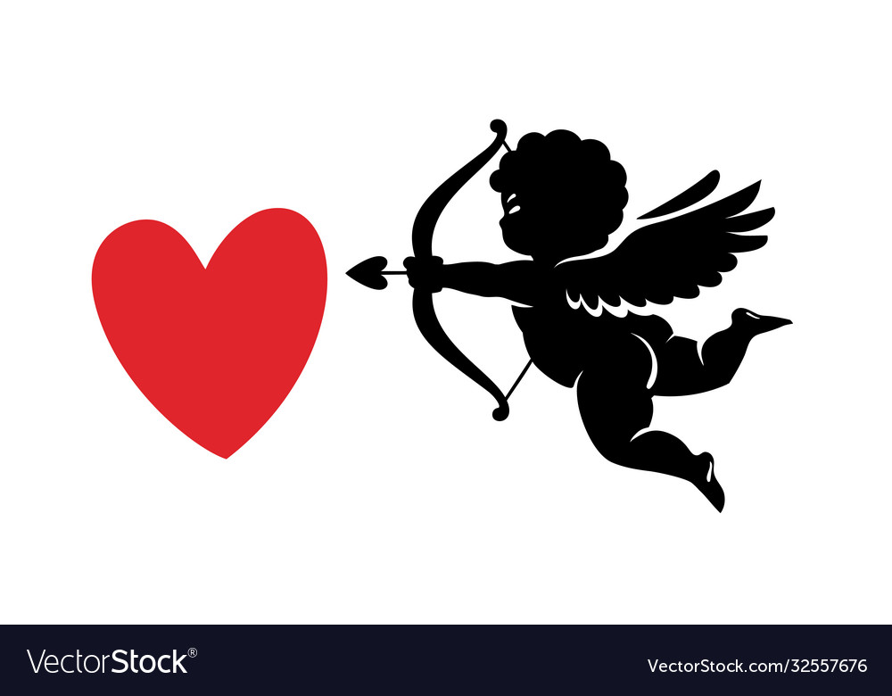 Black silhouette funny cute cupid aiming a bow