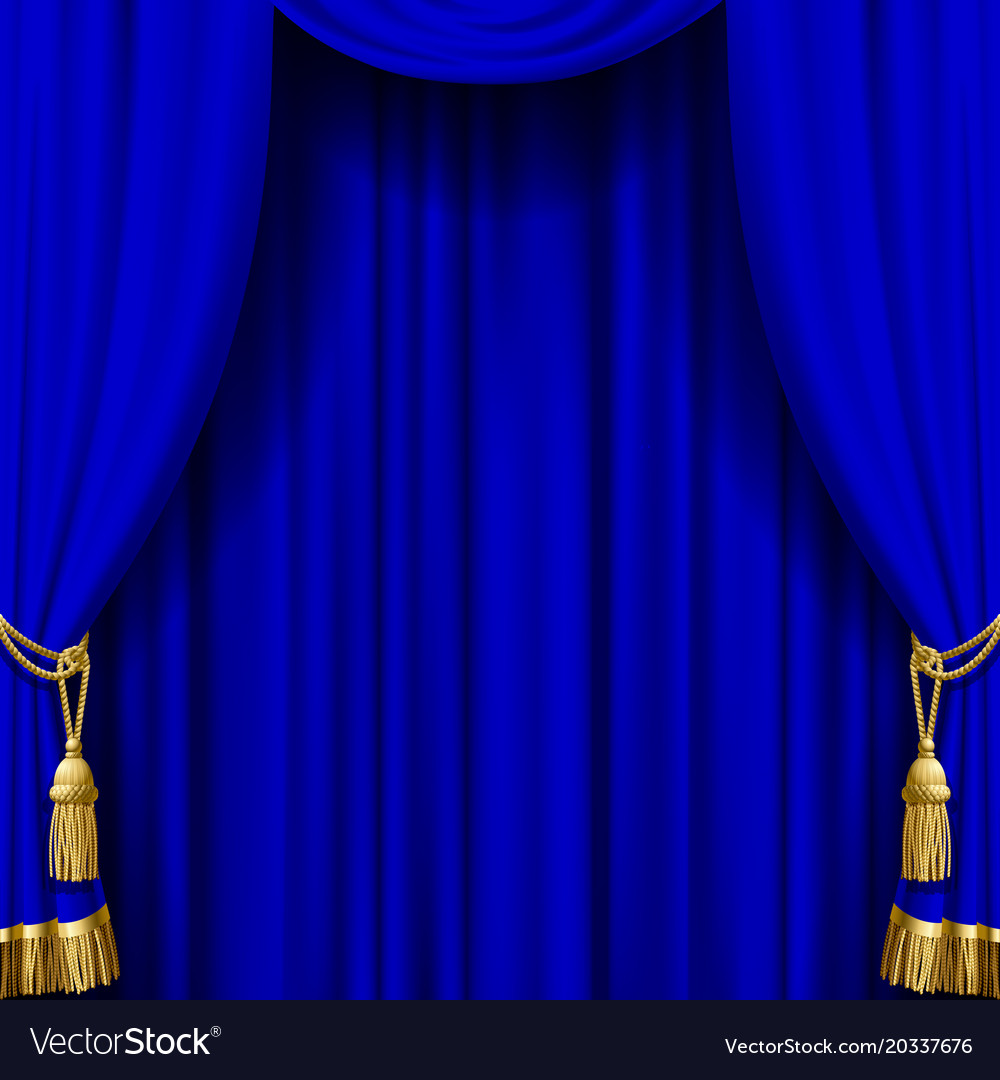 Blue curtain with gold tassels