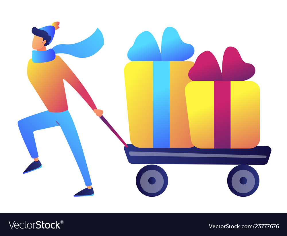 Businessman pulling a trolley or cart with
