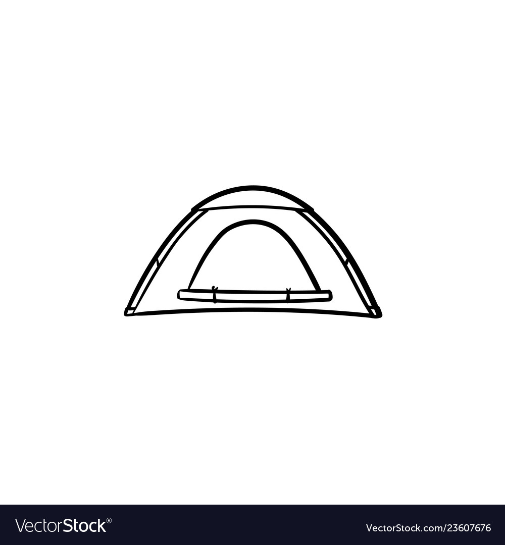 Camping tent hand drawn outline doodle icon