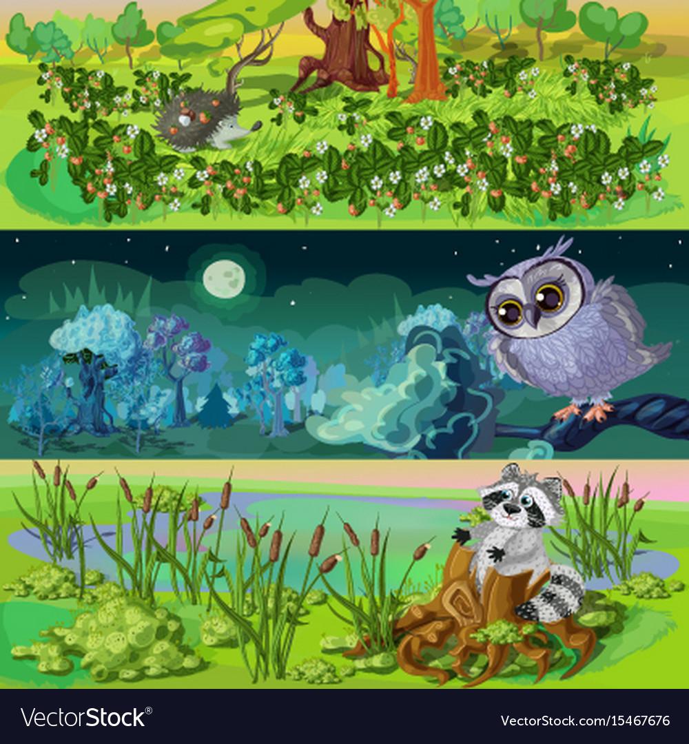 Cartoon animals banners set vector image