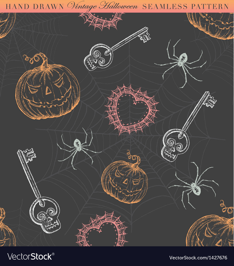 Hand Drawn Vintage Halloween Seamless Pattern vector image