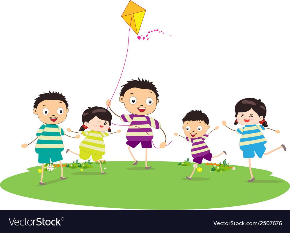 Little children outdoors kites