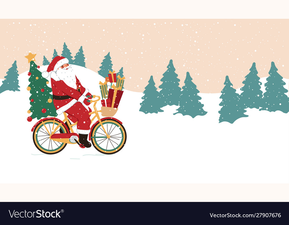 Santa claus on a bicycle with holiday gifts