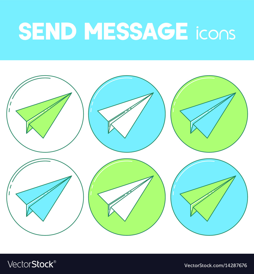 Send message line design icon paper plane set