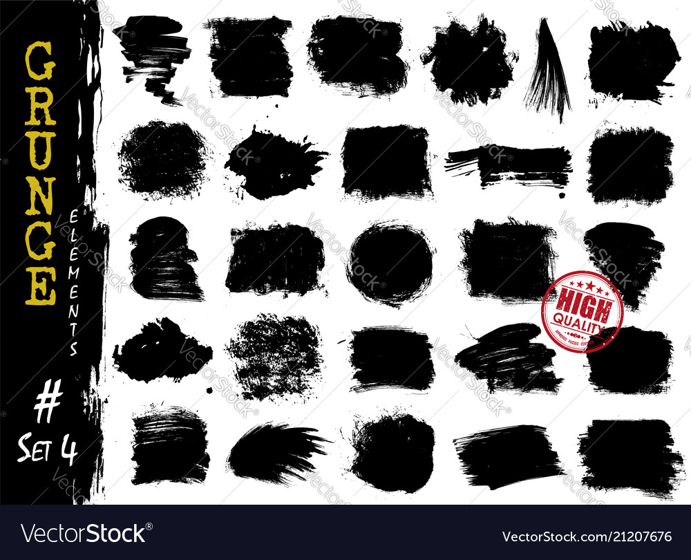 Set grunge style elements texture background vector