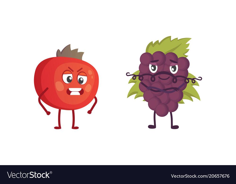 Set of cute cartoon fruit