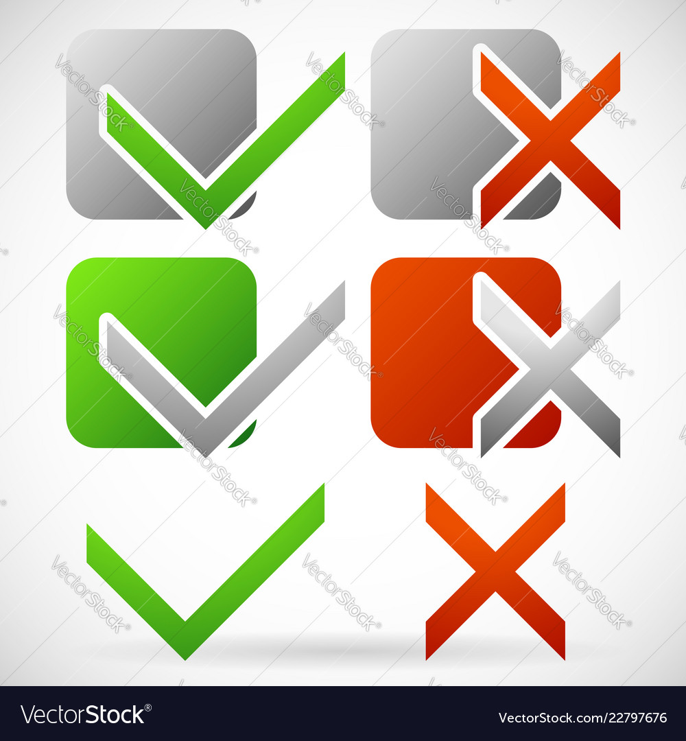 Set of various simple check mark and cross symbols