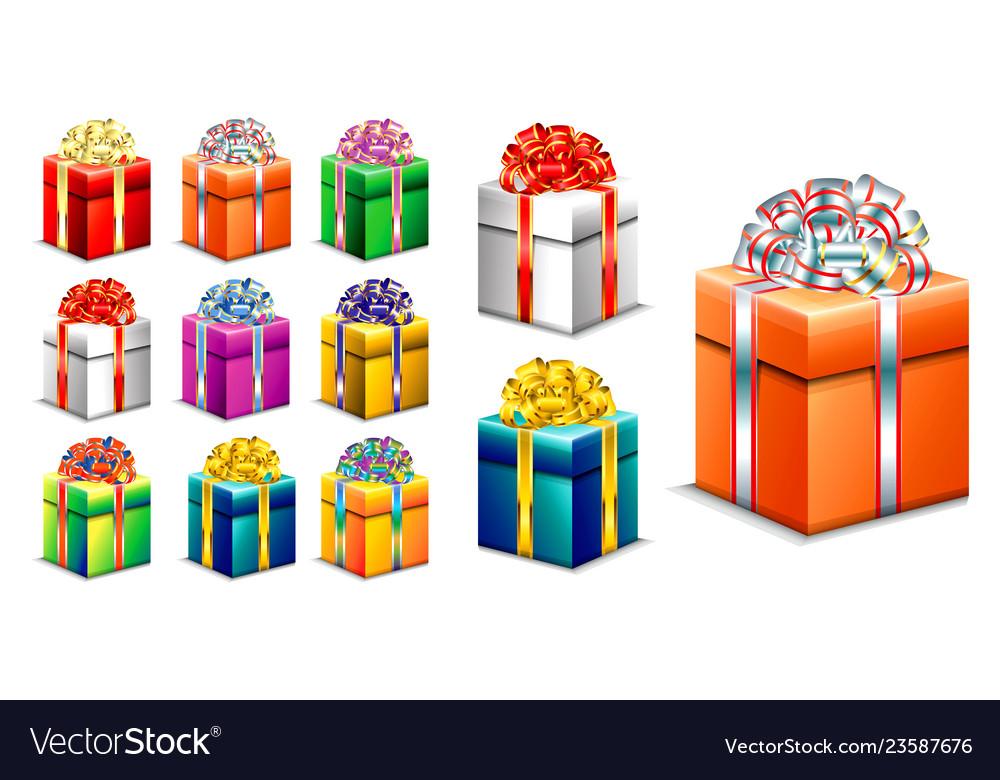 Set realistic gift box with ribbon