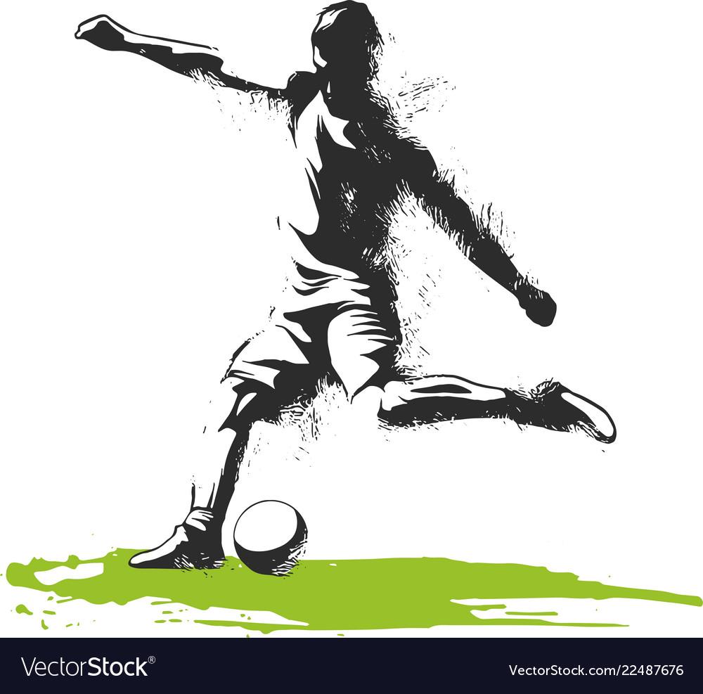 Soccer player kicking ball of sport