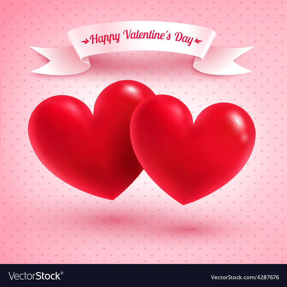 Two Valentine hearts vector image