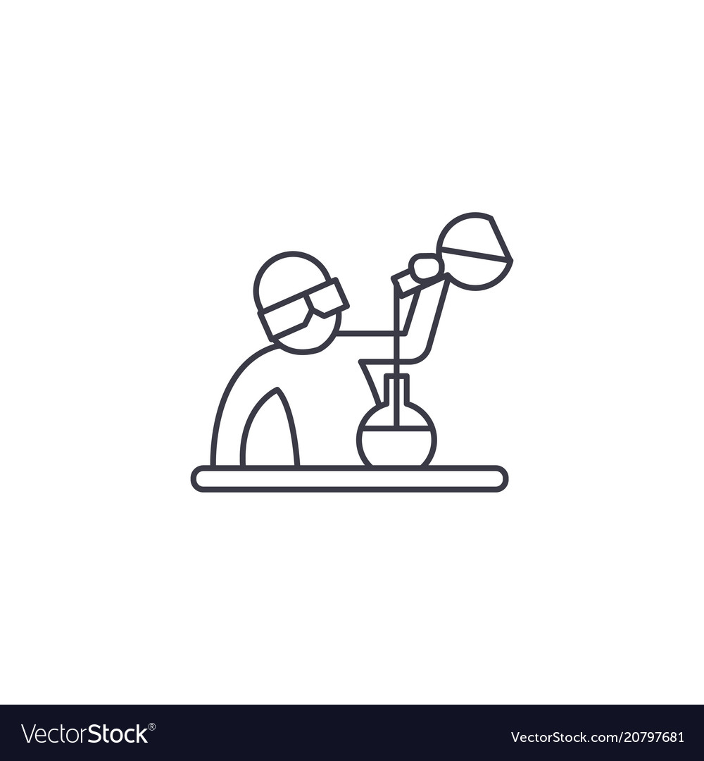 chemist at work line icon sign royalty free vector image