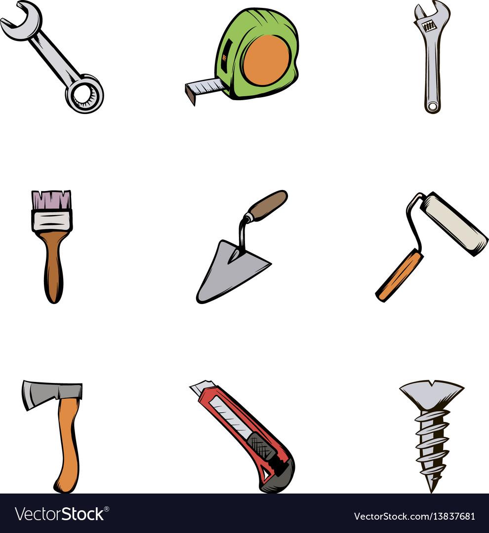 Construction equipment icons set cartoon style vector image