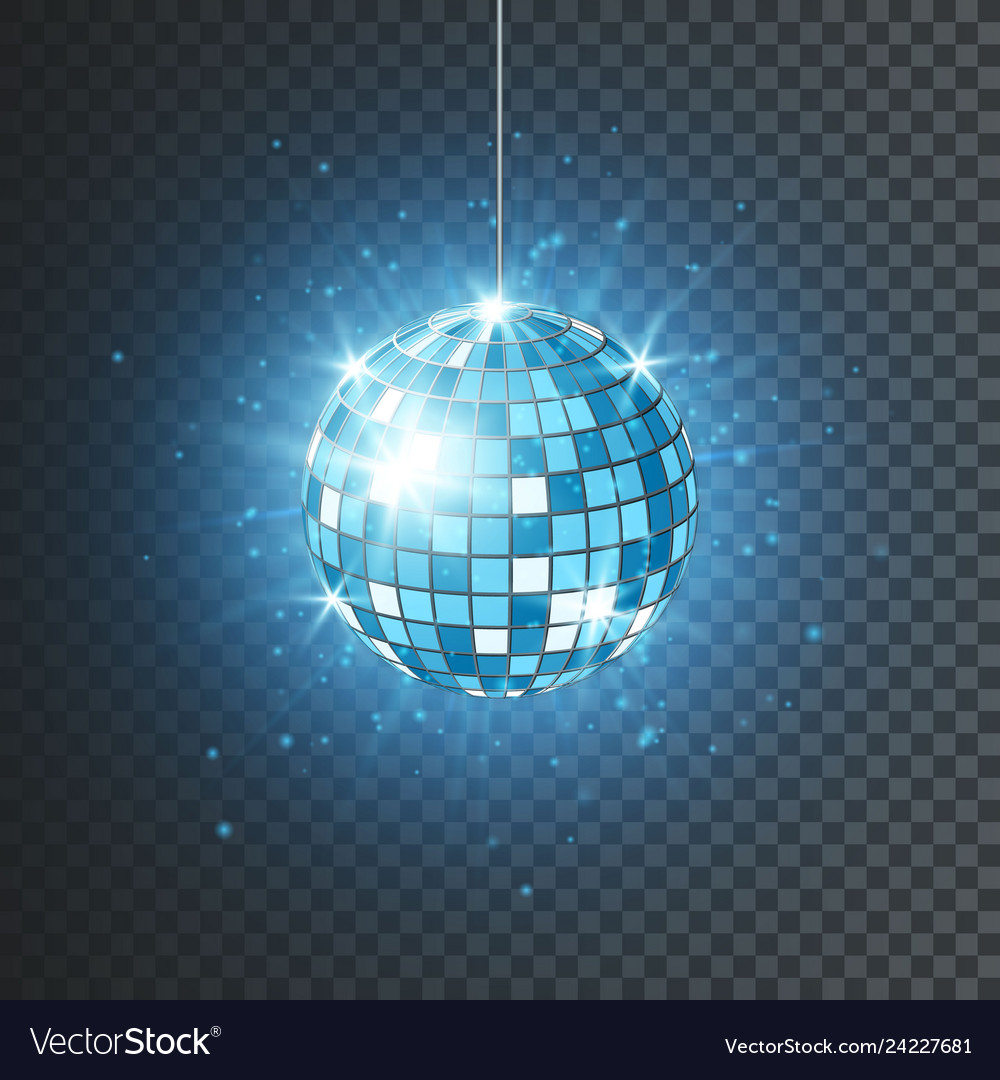 Disco or mirror ball with bright rays music and