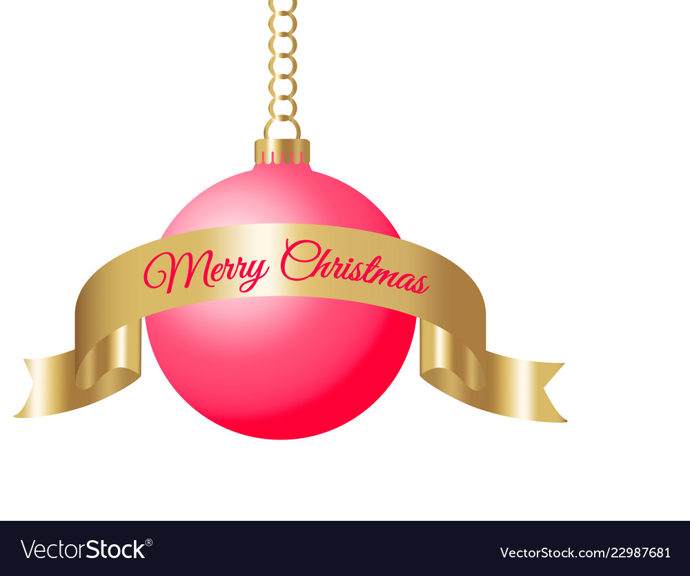 Christmas Chain Text.Hanging Red Christmas Ball On Golden Chain With